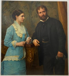 Mid 19th Century Oil Portrait of a Young Couple C.1860