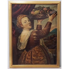 After Titian Oil Portrait of a Young Woman With Platter of Fruit c.1850s