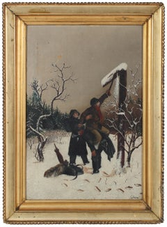 Mid 20th Century Charming Scene of Two Men in the Snow