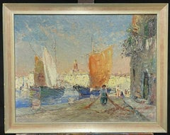 MID 20TH CENTURY FRENCH POST-IMPRESSIONIST OIL - ST. TROPEZ HARBOUR OLD TOWN
