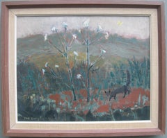 Mid 20th Century Modernist; 'Meadow Landscape with Wildlife' Expressionist oil