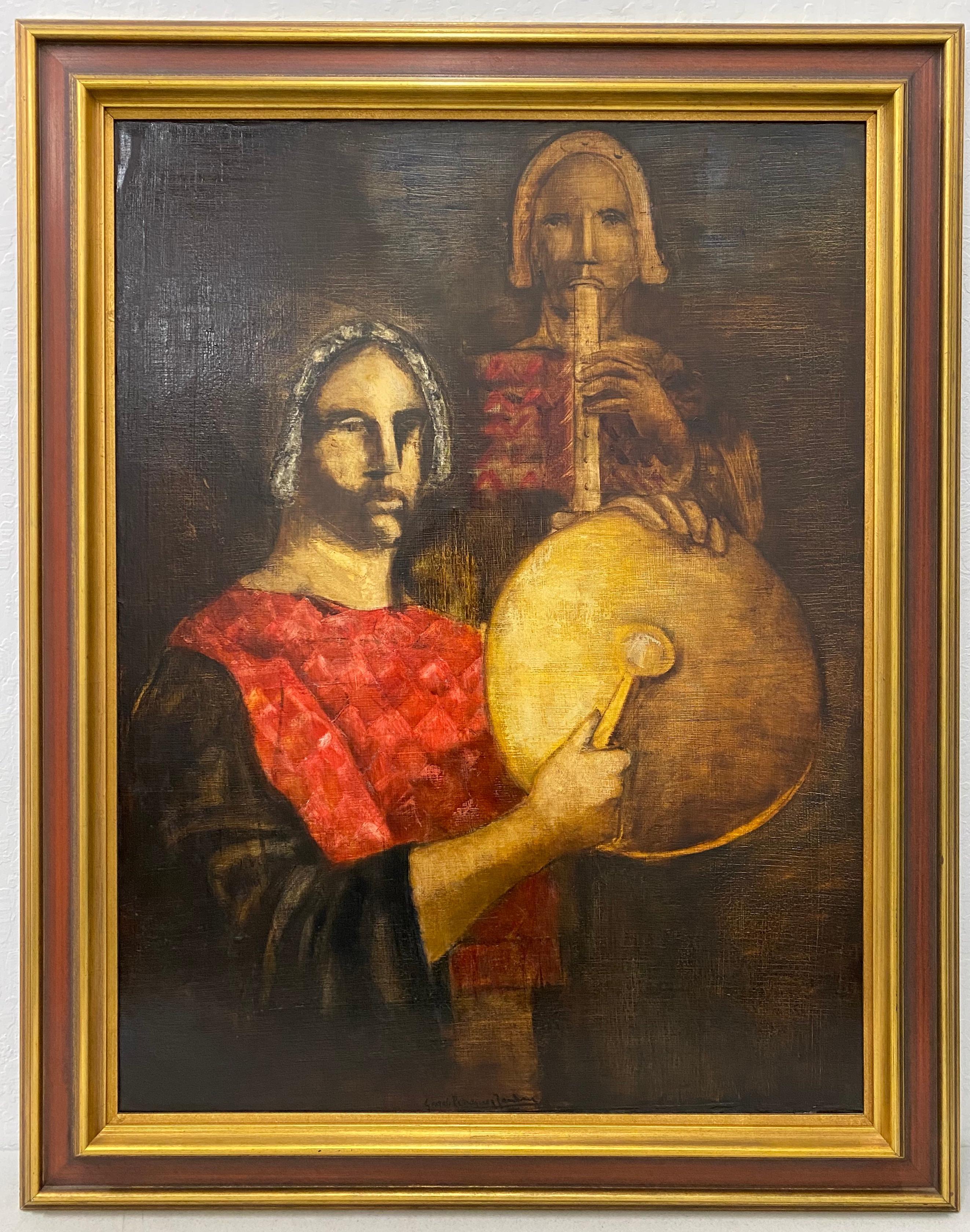 "Mid 20th Century ""Musicians"" Original Oil Painting"