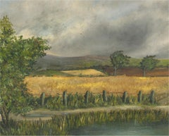 Mid 20th Century Oil - Cornfield with Pond