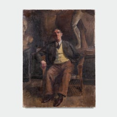Mid 20th Century Oil on Canvas of a Seated Gentleman