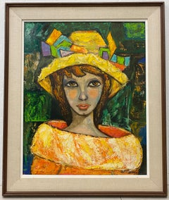Mid 20th Century Oil Portrait of a Fashionable Young Woman by Barrow c.1970