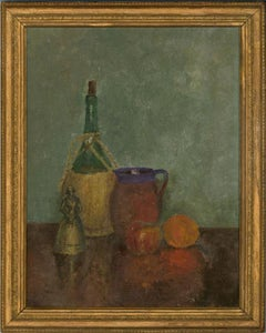 Mid 20th Century Oil - Still Life with Fruit, Bottle and Jar