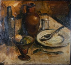 Mid 20th Century Oil - Still Life with Plate & Jug