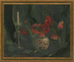 Mid 20th Century Oil - Still Life With Poppies