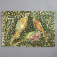 Mid-20th Century Painted Panel Depicting Pheasants