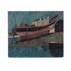 Mid 20th Century painting of a Fishing Boat