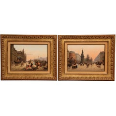 Mid-20th Century Pair of Oil on Board Parisian Scenes in Carved Gilt Frames