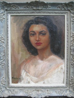 Mid 20th Century Portrait of a Young Woman oil