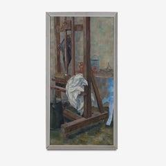Mid 20th Century Still Life Oil on Board Painting of an Artist's Studio