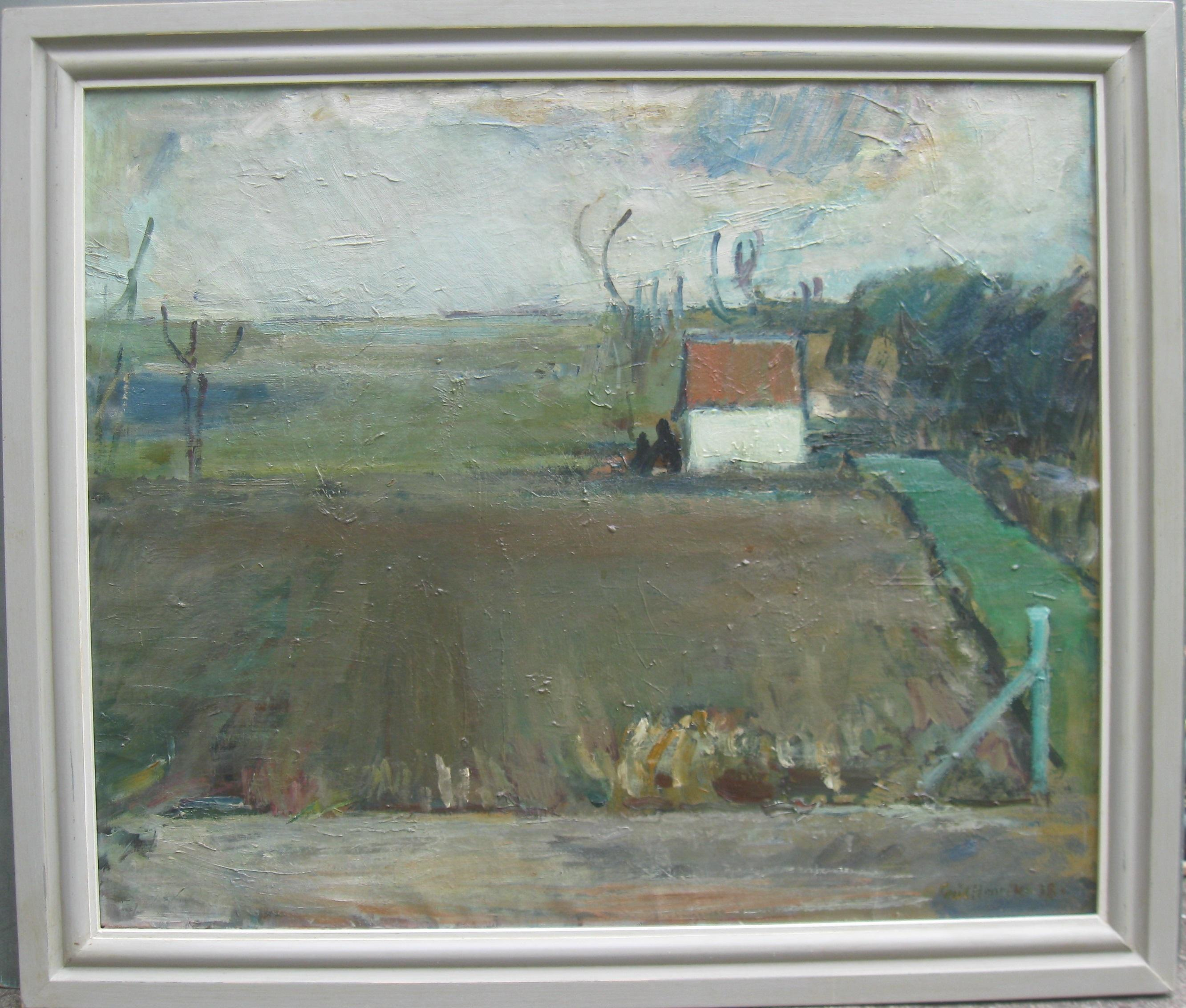 Early 20thC Modernist/Expressionist Large oil Landscape c1930's