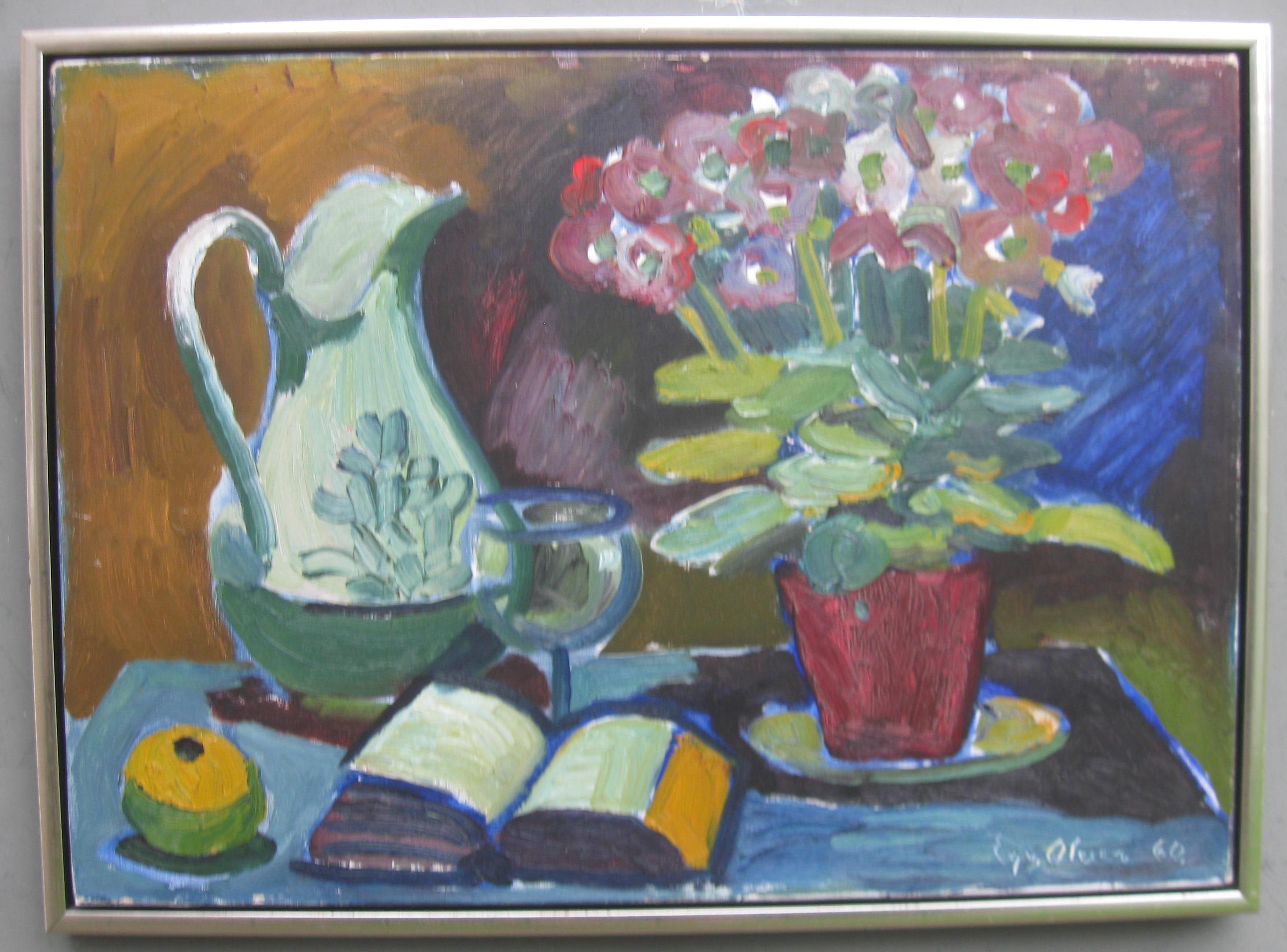 Mid 20thCentury Modernist/Expressionist Still Life oil c1960
