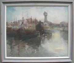 Mid 20thCentury Modernist: Harbour Scene in Morning Light Oil circa 1950's