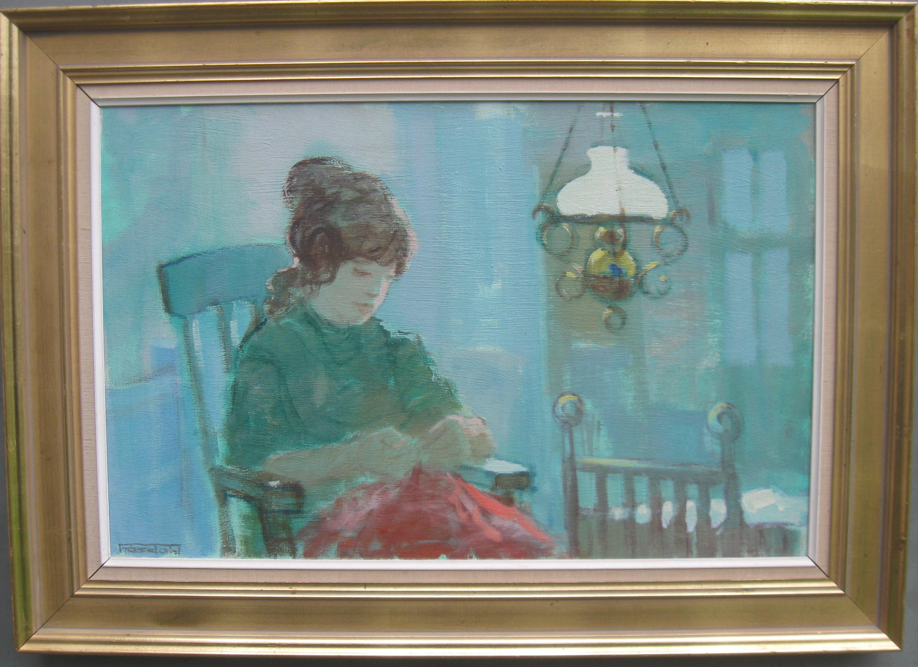 Mid 20thCentury Post Impressionist 'Young Woman Sewing by Lamp Light' oil