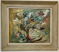 Mid Century Abstract Floral Still Life Oil Painting C.1950