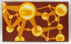 Mid Century Abstract Geometric painting Gold Balls Maroon Framed American