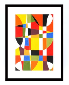 Mid Century Abstract Painting with Fantastic Colors
