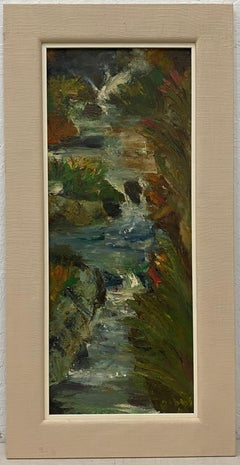 Mid Century Abstract Stream Painting by Gibbs C.1968