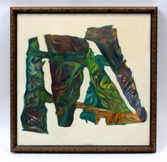 Mid Century American Southwestern Tiki Abstract Oil Painting Original Frame 1960