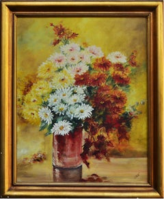Mid Century Autumn Chrysanthemums in Vase Still Life