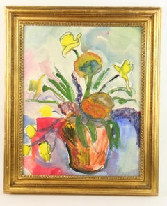 Mid Century Modern Floral  Botanical Still Life Gouache Painting  1960