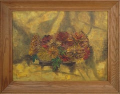 Mid Century Bronze Chrysanthemums Still Life