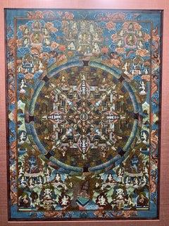 Mid-century Buddhist Tibetan Mandala Thangka painting