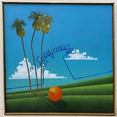 "Mid Century ""California"" Pop Art Oil Painting by David Sherburne C.1974"