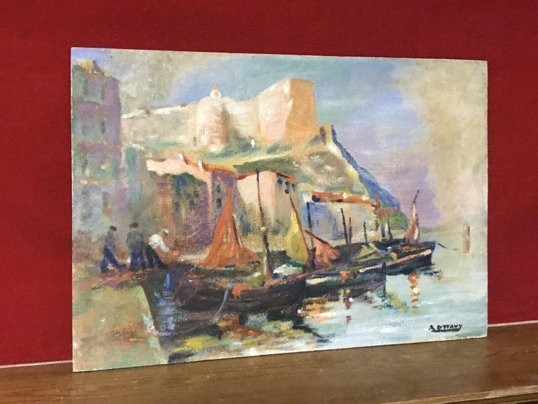 MID CENTURY FRENCH SIGNED OIL - FISHING BOATS MEDITERRANEAN HARBOUR TOWN - Painting by Unknown