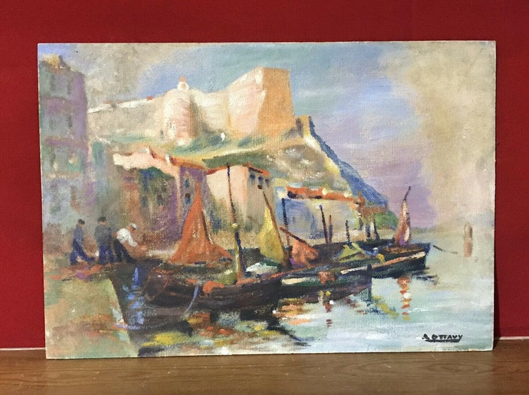 MID CENTURY FRENCH SIGNED OIL - FISHING BOATS MEDITERRANEAN HARBOUR TOWN - Victorian Painting by Unknown