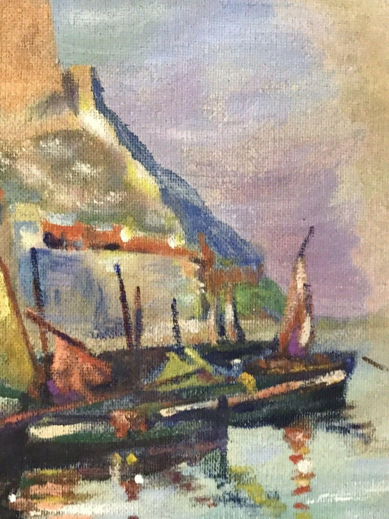 MID CENTURY FRENCH SIGNED OIL - FISHING BOATS MEDITERRANEAN HARBOUR TOWN - Brown Abstract Painting by Unknown