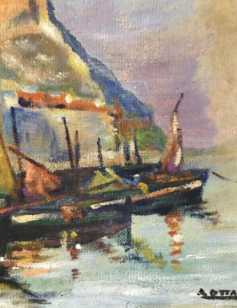MID CENTURY FRENCH SIGNED OIL - FISHING BOATS MEDITERRANEAN HARBOUR TOWN For Sale 3