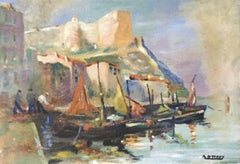 MID CENTURY FRENCH SIGNED OIL - FISHING BOATS MEDITERRANEAN HARBOUR TOWN
