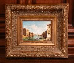 Mid-Century Italian Oil on Canvas Harbor Scene in Gilt Frame Signed