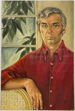 Mid Century Male Oil Portrait by M. Suarez C.1970