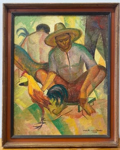 """Mid Century """"Man With Rooster"""" Original Oil Painting C.1955"""