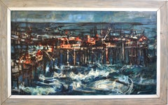 Mid Century Modern Abstract Expressionist Seascape Signed Original Oil Painting