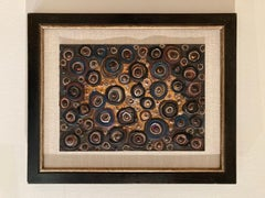 'Mid-century Modern Abstract of Circles,' by Unknown, Oil on Canvas Painting