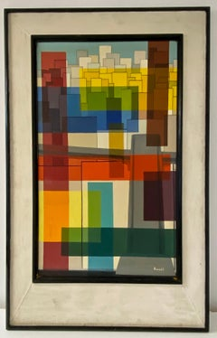 Mid Century Modern Abstract Oil Painting by Russell C.1950s