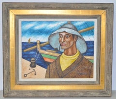 Mid Century Modern Fisherman w/ Pipe Oil Painting c.1950