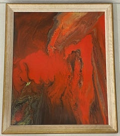 Mid Century Modern Lava Red Enamel Swirl Painting c.1969