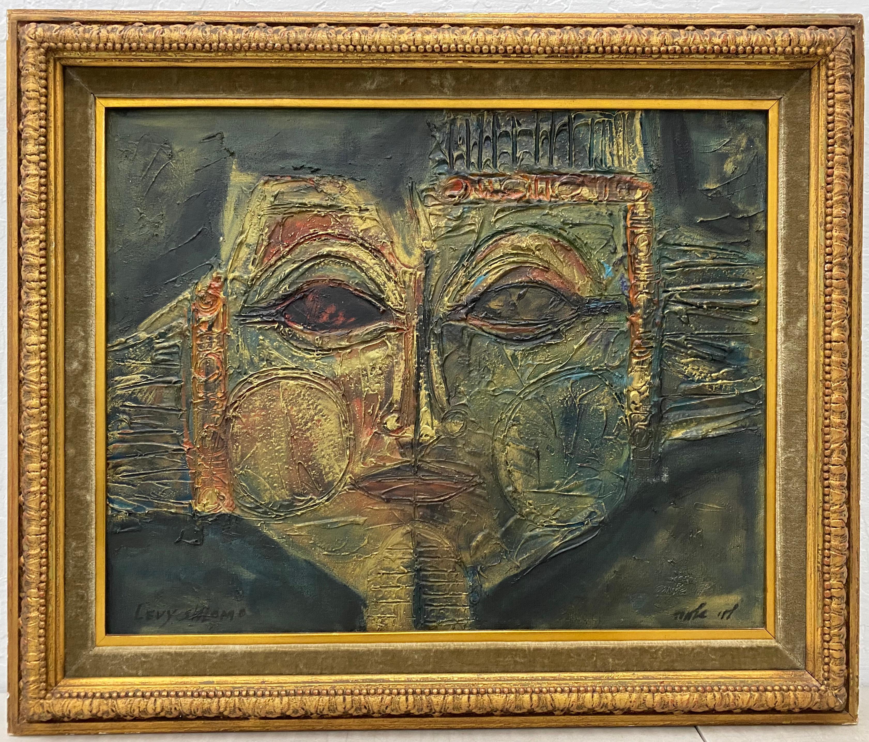 "Mid Century Modern ""Levy Shlomo"" Original Abstract Oil Portrait C.1960"
