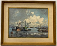 Mid Century Modern Ship Yard Oil Painting C.1950