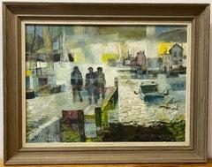 Mid Century Modern Three Figures Dockside Oil Painting c.1950s