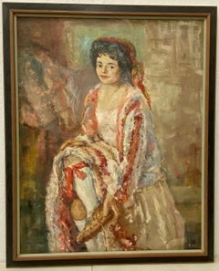 Mid Century Oil Portrait of a Dancer C.1959