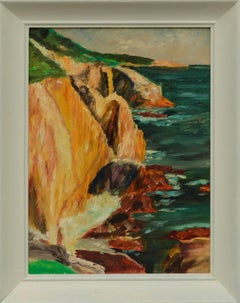 Mid Century Plein Air Landscape of Yellow Cliffs of Big Sur