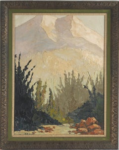 Mid Century Sierra Mountains Double Sided Landscape - w/Clown painting
